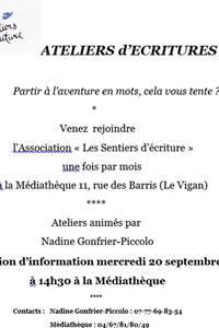 """Réunion d'information des """"Sentiers d'écriture"""""""