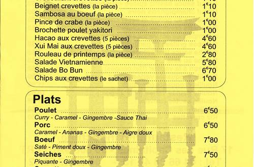 menu indochine ©